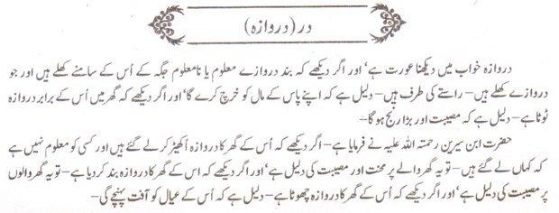 khwab nama khwab main darwaza dekhna
