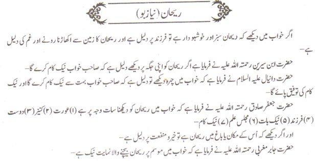 Khwab Main Rehaan Dekhne Ki Tabeer