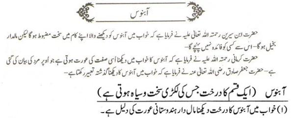 Khawab Nama khwab main Aabnos dekhna