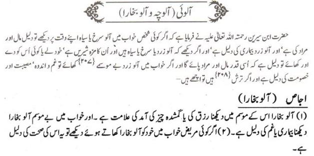khwab nama Khwab Main Aaloo ya aalo bukhara Dekhna