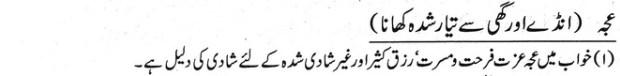 khawab nama andy aor ghi se tayar khana dekhna