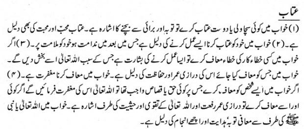 khwab nama khwab main attaab dekhne ki tabeer