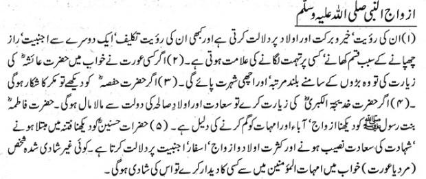 khawab Nama khwab main azwaj un nabi ko dekhna