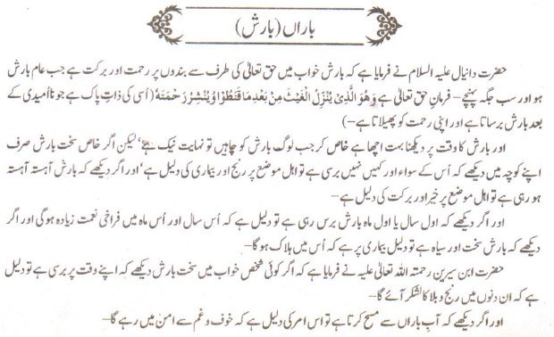 Khawab Nama Khwab Main Barish Dekhna