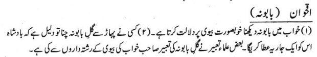 Khawab Nama Khwab Main Baboonah Dekhne Ki Tabeer