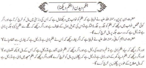 khwab nama khwab main balgham dekhna