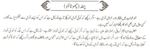 khwab nama khwab main chhota ulloo dekhna