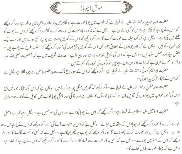 Khawab Nama Khwab Main choha Dekhna