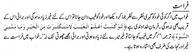 khwab nama khwab main faraast dekhne ki tabeer