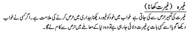 khwab nama khwab main ghairat khana dekhna