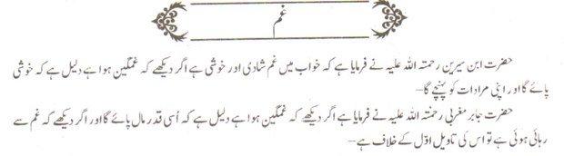 khwab nama khwab main gham dekhne ki tabeer