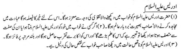 khawab Nama khwab main idrees alaih alsalam ka dedar