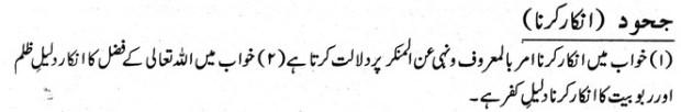 khwab nama khwab main inkar karna