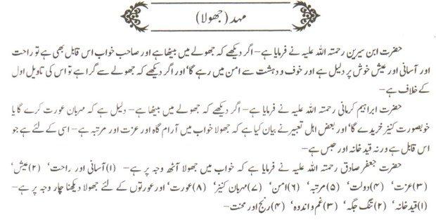 Khawab Nama Khwab Main mahad Jhoola Dekhna