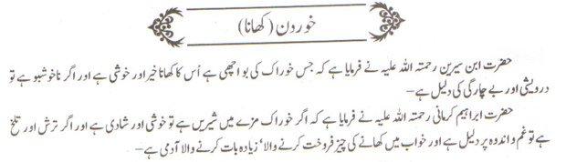 khwab nama khwab main khana dekhne ki tabeer