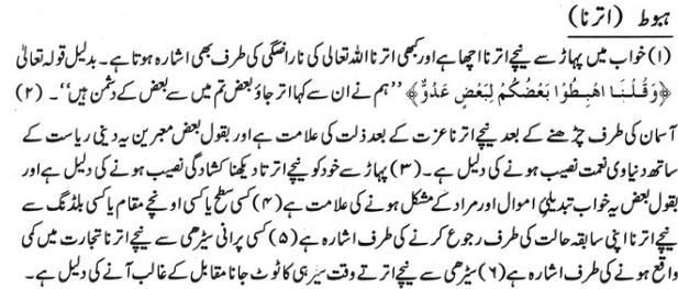 Khawab Nama Khwab main pahar se utarna