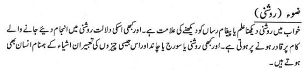 Khawab Main Roshani Ki Tabeer khwabon ki tabeer