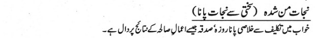 Khwab Main Sakhti Se Nijaat Pane Ki Tabeer