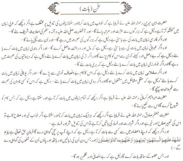 Khwab Main Sukhan Ki Tabeer khawab ki tabeer