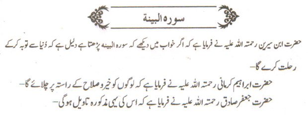 khwab ki tabeer khwab main soorah al Bayyana parhna