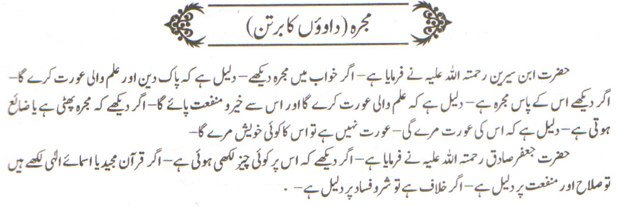 khwab nama khwab main Mujarra dekhne ki tabeer