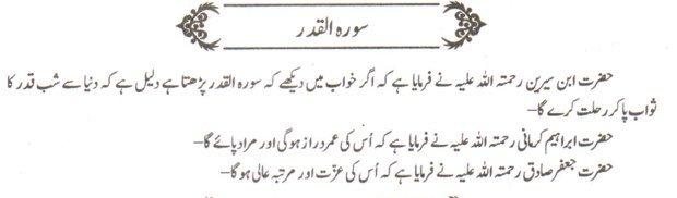 khwab nama khwab main soorah Qadar parhne ki tabeer