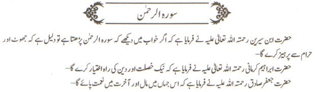 khwab ki tabeer khwab main soorah Rehman parhna