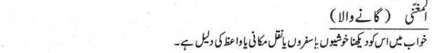 khwab nama khwab main gaany wala dekhne ki tabeer