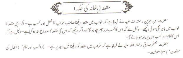 khwab nama khwab main maqad pakhana ki jaga dekhna