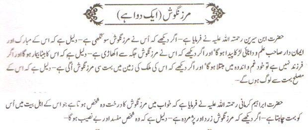 khwab nama khwab main marzangosh dawa dekhna