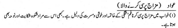 khwab nama khwab main mizaj pursi karny wala dekhna