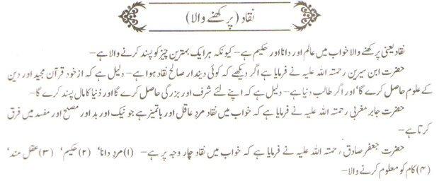 khwab nama khwab main naqaad dekhne ki tabeer