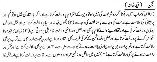 khwab nama khwab main qaid khana dekhe ki tabeer