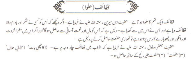 khwab nama khwab main qataif halwa dekhne ki tabeer